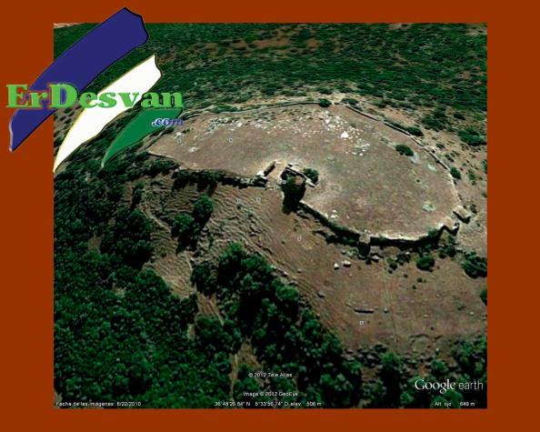 El Castillo de Matrera visto desde el satélite de Google Earth