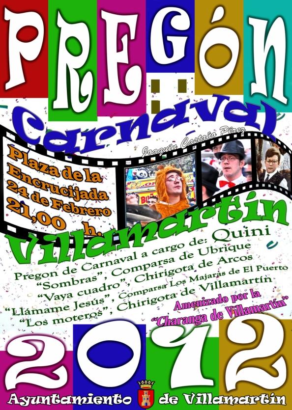 Cartel del Pregón del Carnaval de Villamartín 2012