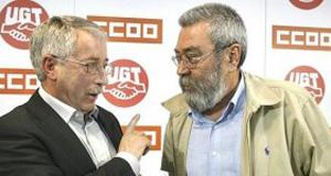 Ignacio Fernández Toxo y Cándido Méndez, secretarios generales de CCOO y UGT respectivamente