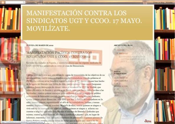 Manifestación contra la cúpula de los sindicatos. Su web en este fotomontaje. Jenu